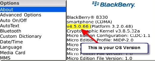 Find OS in BlackBerry